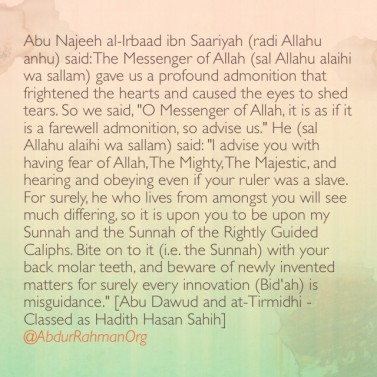 Bite on to it (i.e. the Sunnah) with your back molar teeth ..