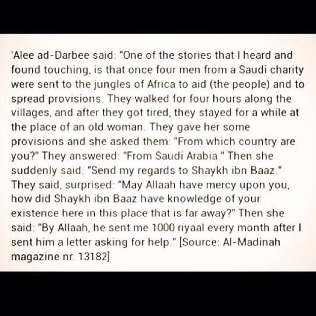 Send my regards to Shaykh Ibn Baaz