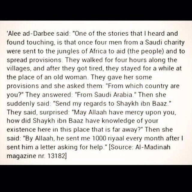 Send my regards to Shaykh Ibn Baaz
