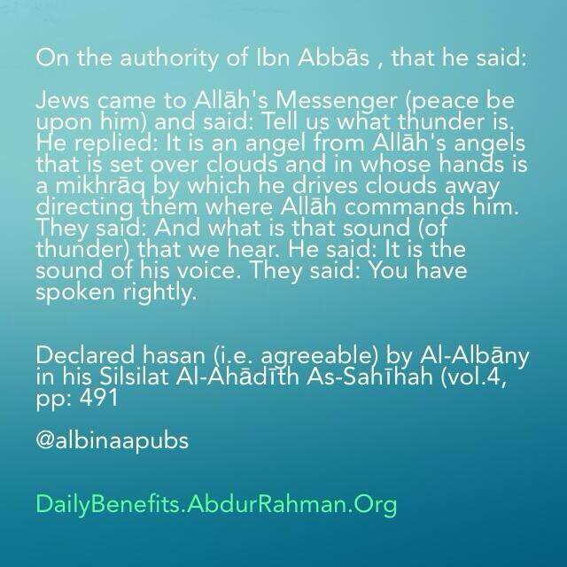 Thunder is the sound of an angel – Daily Islamic Benefits