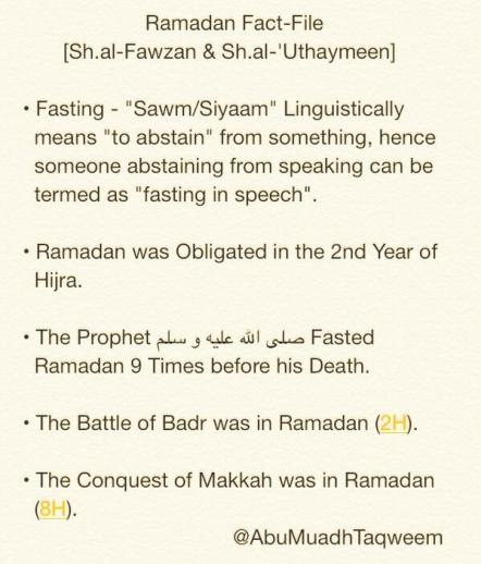 A Brief Fact-File on Affairs Related to Ramadan - Shaykh al-Fawzan & Shaykh ibn ul-Uthaymeen