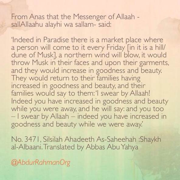 Indeed in Paradise there is a market place where a person will come to it every Friday