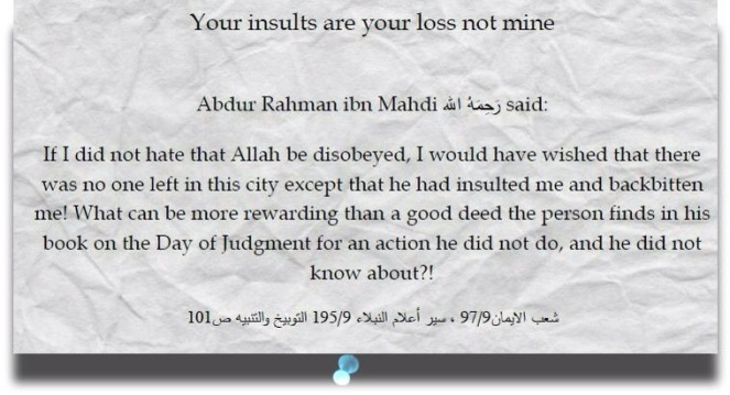 backbiting-Your insults are your loss not mine