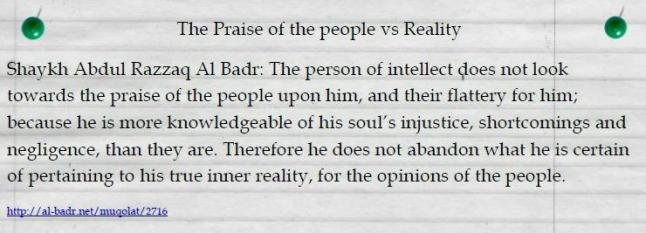 The Praise of the people vs Reality