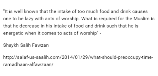 intake of too much food and drink causes one to be lazy with acts of worship