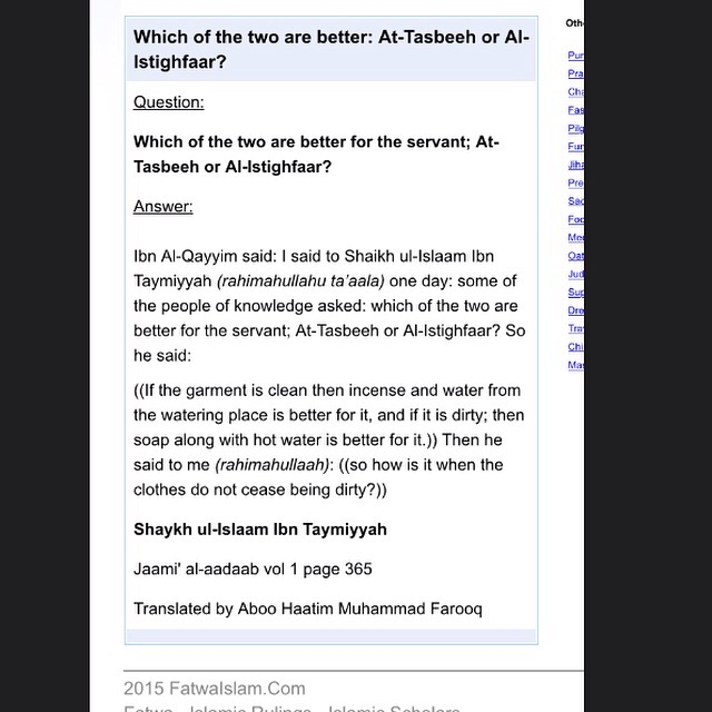 Which of the two are better for the servant; At-Tasbeeh or Al-Istighfaar?