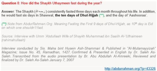 Shaykh Uthaymeen rahimahullaah fasting the First 9 Days of Month of Dhul-Hijjah