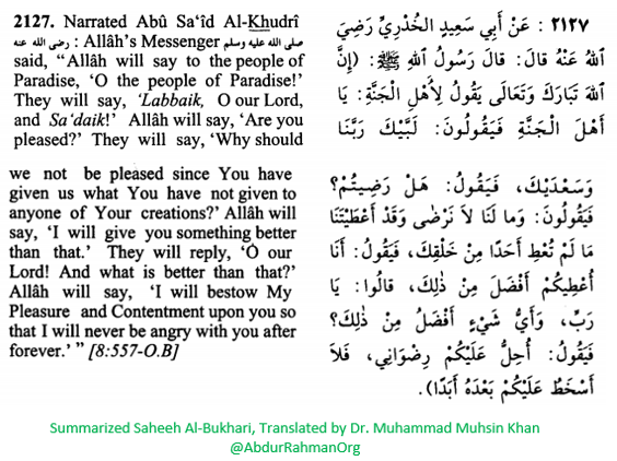 Allah will say to the People of Paradise - I will never be angry with you after forever